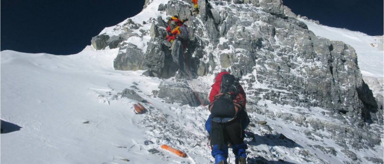 Approaching the summit of Everest